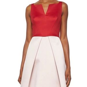 Satin color block high low dress Red/blush